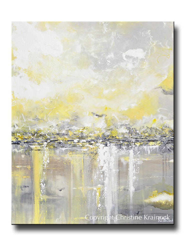 ORIGINAL Art Yellow Grey Abstract Painting Modern Coastal Landscape Gold White Wall Decor 24x30""
