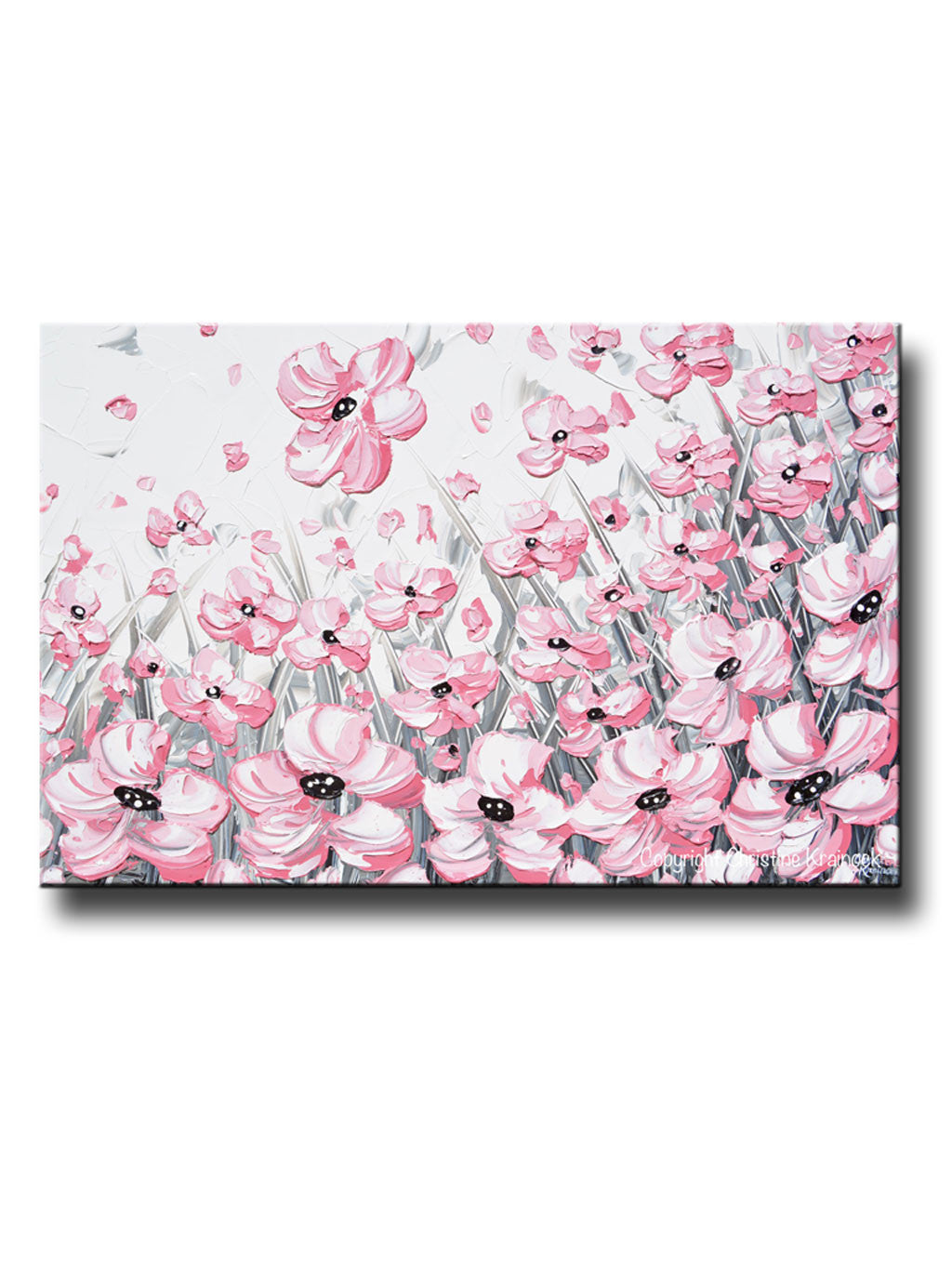 Giclee Print Abstract Painting Pink Poppies Flowers Grey White