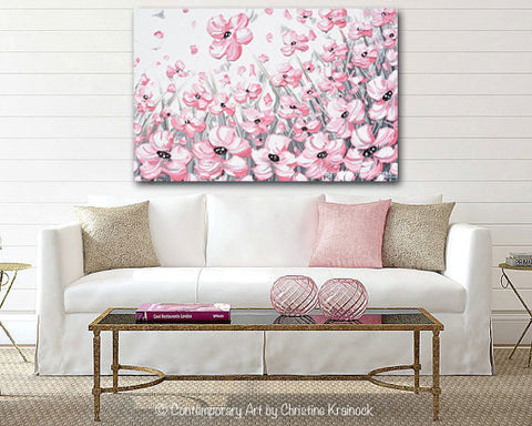 Floral Canvas Wall Art giclee print abstract painting pink poppies flowers grey white