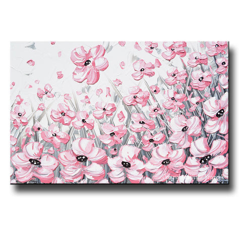 GICLEE PRINT Abstract Painting Pink Poppies Flowers Grey White ...