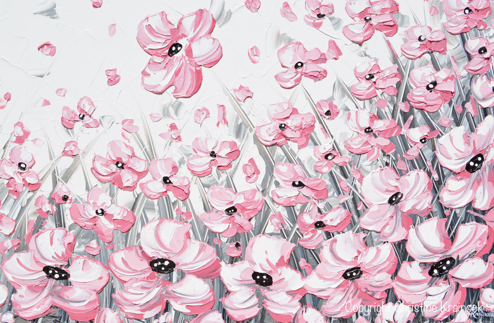 """Enchantment"" GICLEE PRINT Abstract Painting Pink Poppies Flowers Grey White Peonies Floral Canvas Wall Art"