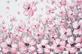 GICLEE PRINT Abstract Painting Pink Poppies Flowers Grey White Peonies Floral Canvas Wall Art