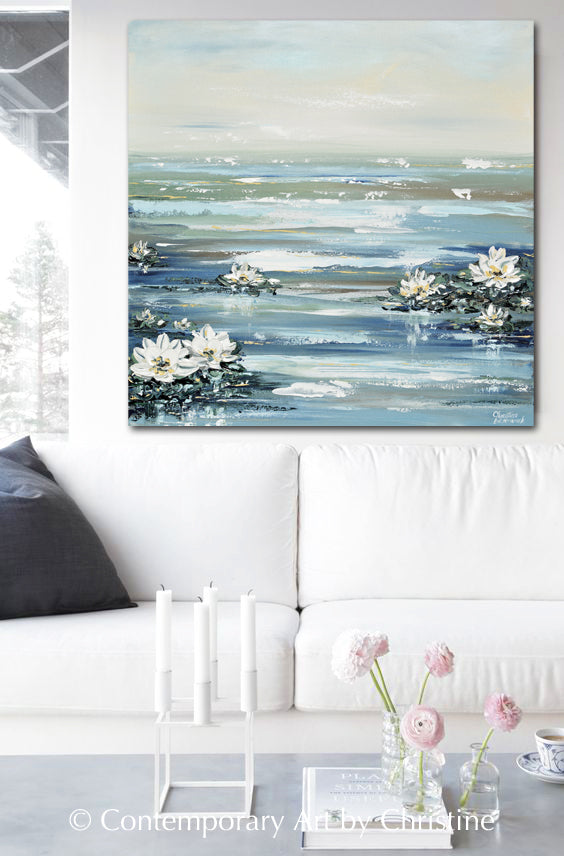 CUSTOM for LYNNETTE ORIGINAL Art Abstract Water Lily Painting Textured Coastal Lotus Flowers Diptych 2 - 36x36""