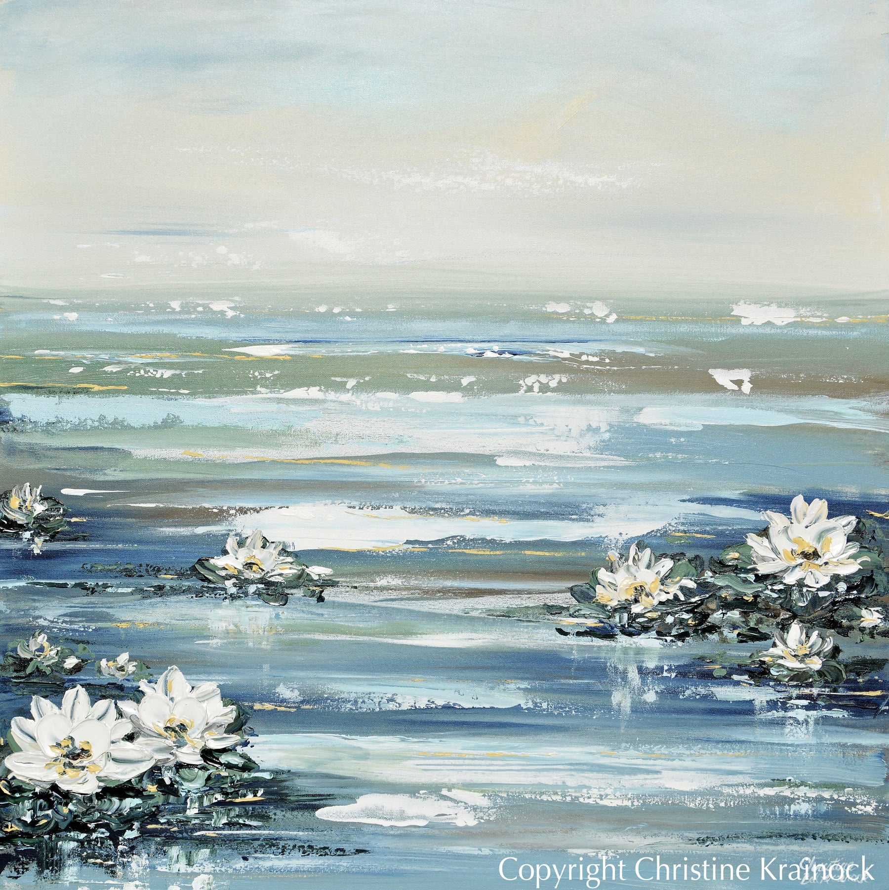 Original Art Abstract Water Lily Painting Textured Coastal Lotus Flowers Blue White Home Decor 36x36