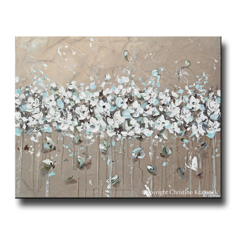 ORIGINAL Art Abstract Painting TEXTURED White Flowers Grey Taupe Creme Blue Neutral Home Wall Decor 24x30""
