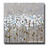 ORIGINAL Art Abstract Painting TEXTURED White Flowers Taupe Grey Creme Blue Neutral Home Wall Decor 24x24""