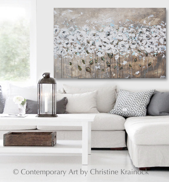 ORIGINAL Art Abstract Painting TEXTURED White Flowers Grey Taupe Blue Neutral Home Wall Decor 48x30""