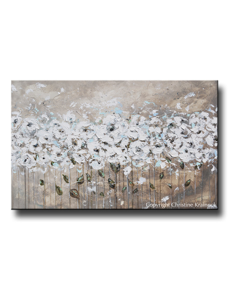 """Beautiful Moments"" CUSTOM Art Abstract Painting Textured White Flowers Grey Taupe Blue Neutral"