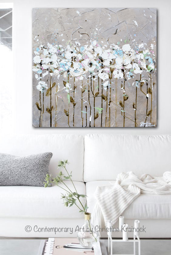 ORIGINAL Art Abstract Painting Textured White Flowers Home