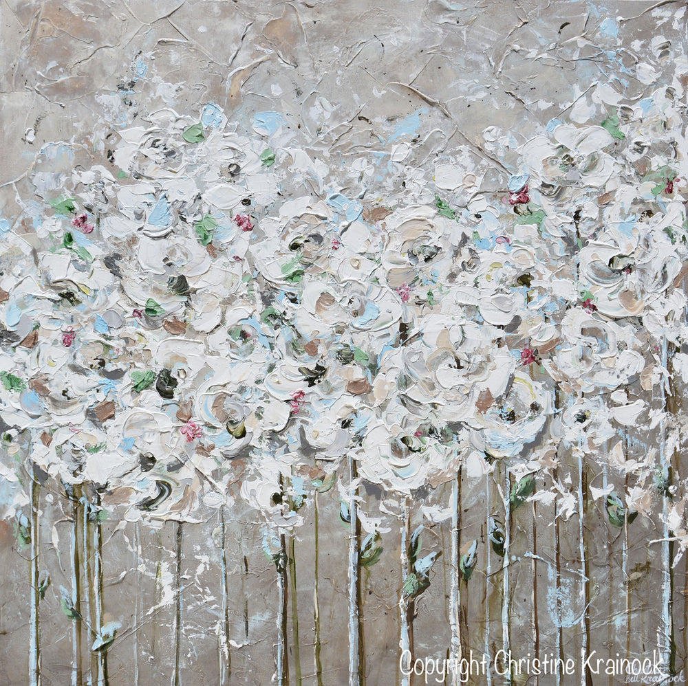 ORIGINAL Art Abstract Painting Textured White Floral Flower