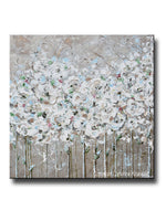 ORIGINAL Art Abstract Painting TEXTURED White Flowers Poppies Grey Taupe Creme Neutral Home Wall Decor 36x36""