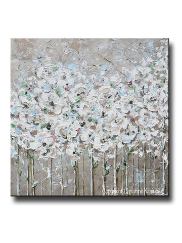 ORIGINAL Art Abstract Painting TEXTURED White Flowers Poppies Grey Taupe  Creme Neutral Home Wall Decor 36x36