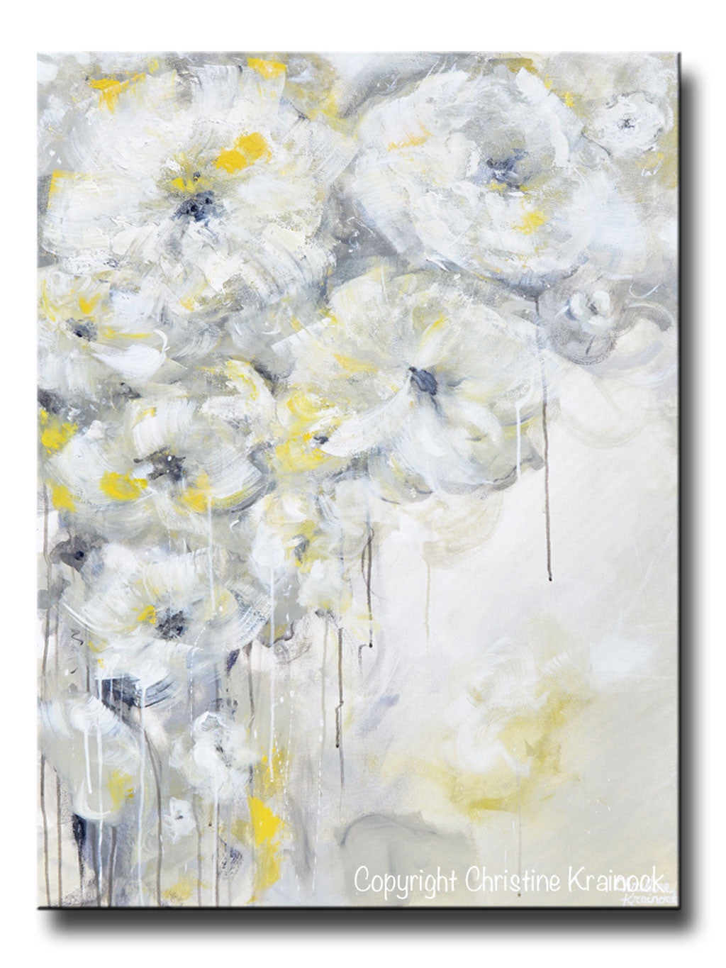 Original art yellow grey abstract painting white flowers for White paint going yellow