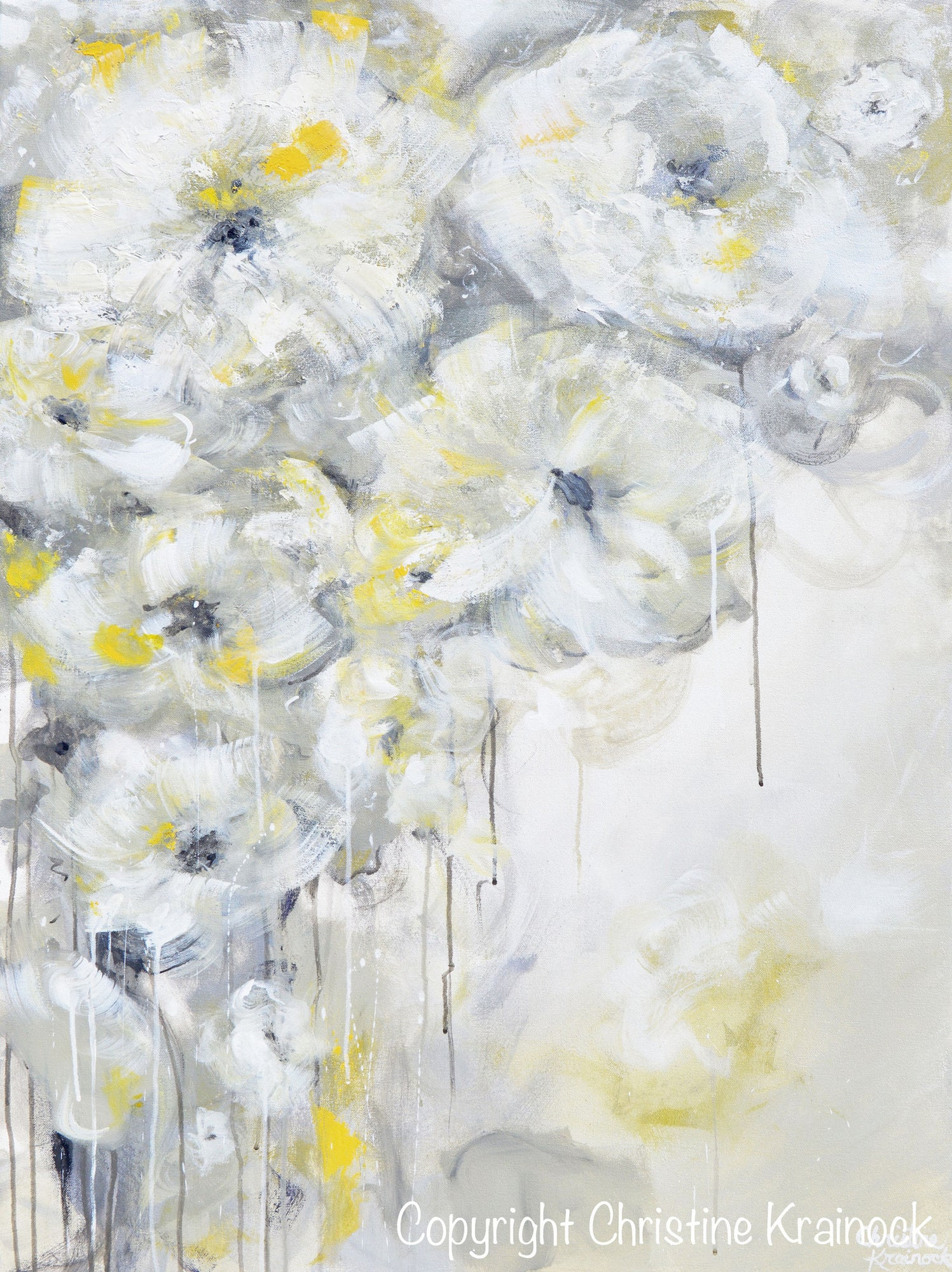 Original Art Yellow Grey Abstract Painting White Flowers Coastal Decor Contemporary Art By Christine