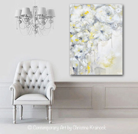 Grey And White Wall Decor fine art yellow grey abstract painting white flowers canvas art