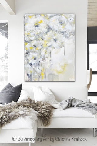 Fine art yellow grey abstract painting white flowers canvas art giclee print art yellow grey abstract painting white flowers modern coastal floral canvas art gold neutral mightylinksfo