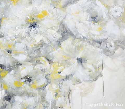 Original art yellow grey abstract painting white flowers coastal original art yellow grey abstract painting white flowers modern coastal floral taupe gold neutral wall decor mightylinksfo Images