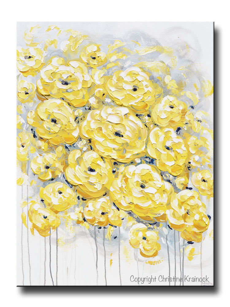 GICLEE PRINT Art Yellow Grey Gold Abstract Painting Poppy Flowers Floral Coastal Artwork Canvas Art Prints