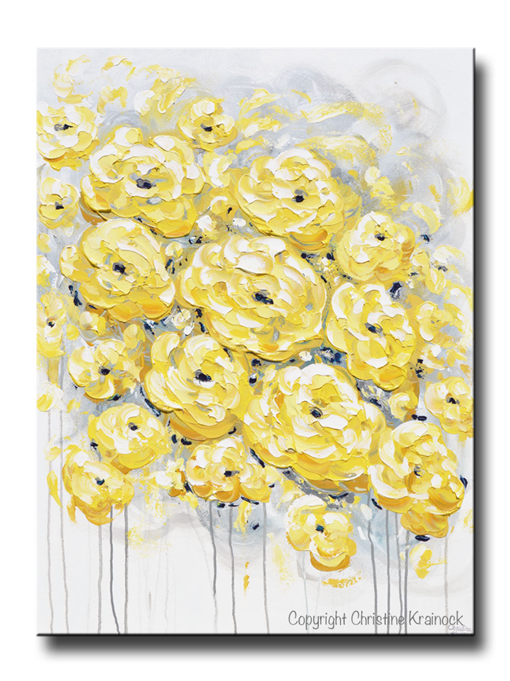 Giclee Print Art Yellow Grey Gold Abstract Painting Poppy
