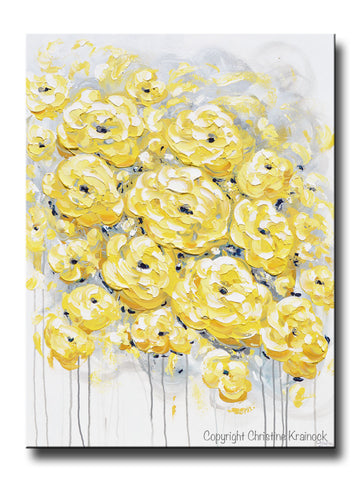 GICLEE PRINT Art Yellow Grey Gold Abstract Painting Poppy Flowers Coastal Artwork Canvas Art Prints