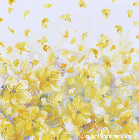 Original art yellow grey abstract painting flowers modern floral original art yellow grey abstract painting modern floral gold white flowers fall leaves neutral wall decor mightylinksfo