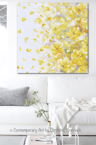 ORIGINAL Art Yellow Grey Abstract Painting Flowers Modern Floral ...