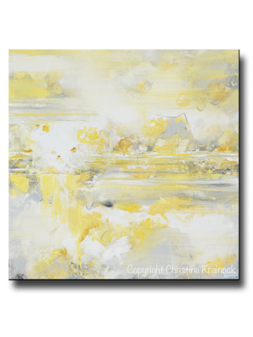 ORIGINAL Art Yellow Grey Abstract Painting Modern Coastal White Gold Neutral Wall Decor 36x36""