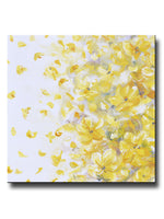ORIGINAL Art Yellow Grey Abstract Painting Modern Floral Gold White Flowers Fall Leaves Neutral Wall Decor XL 40x40""