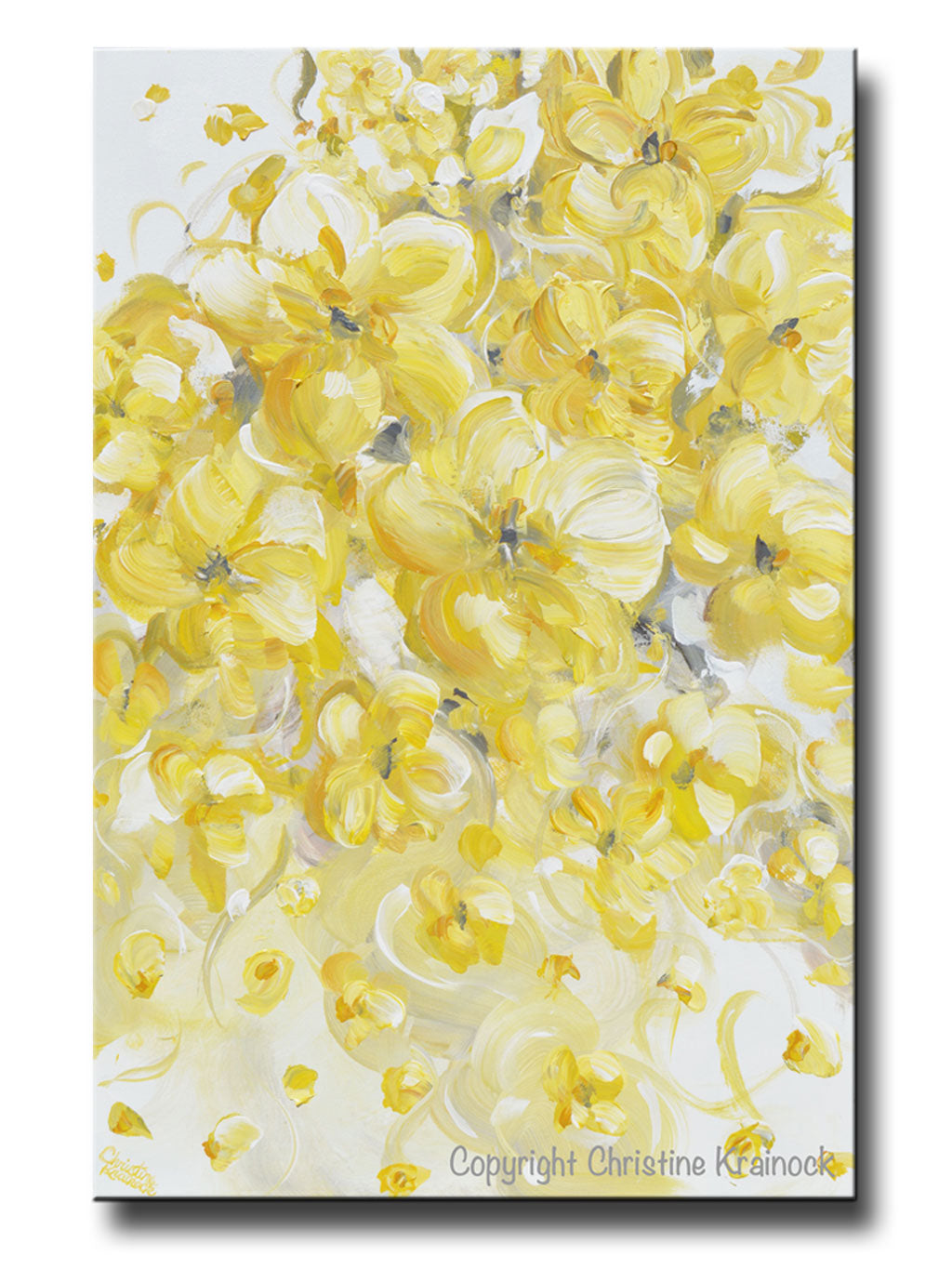 Original art yellow grey abstract painting modern floral gold white flowers home wall decor 24x36