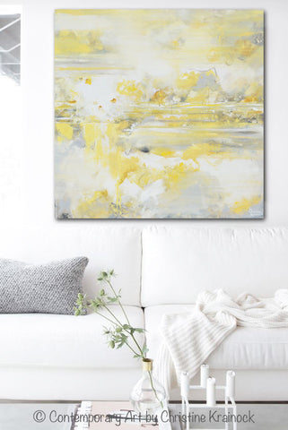 Neutral Wall Art canvas art print yellow grey abstract painting modern coastal gold