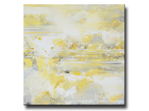 Canvas Art Print Yellow Grey Abstract Painting Modern Coastal Gold ...