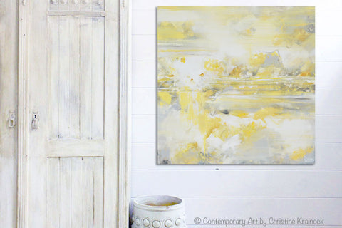 ... GICLEE PRINT Art Yellow Grey Abstract Painting Modern Coastal Canvas Art  White Gold Wall Decor ...