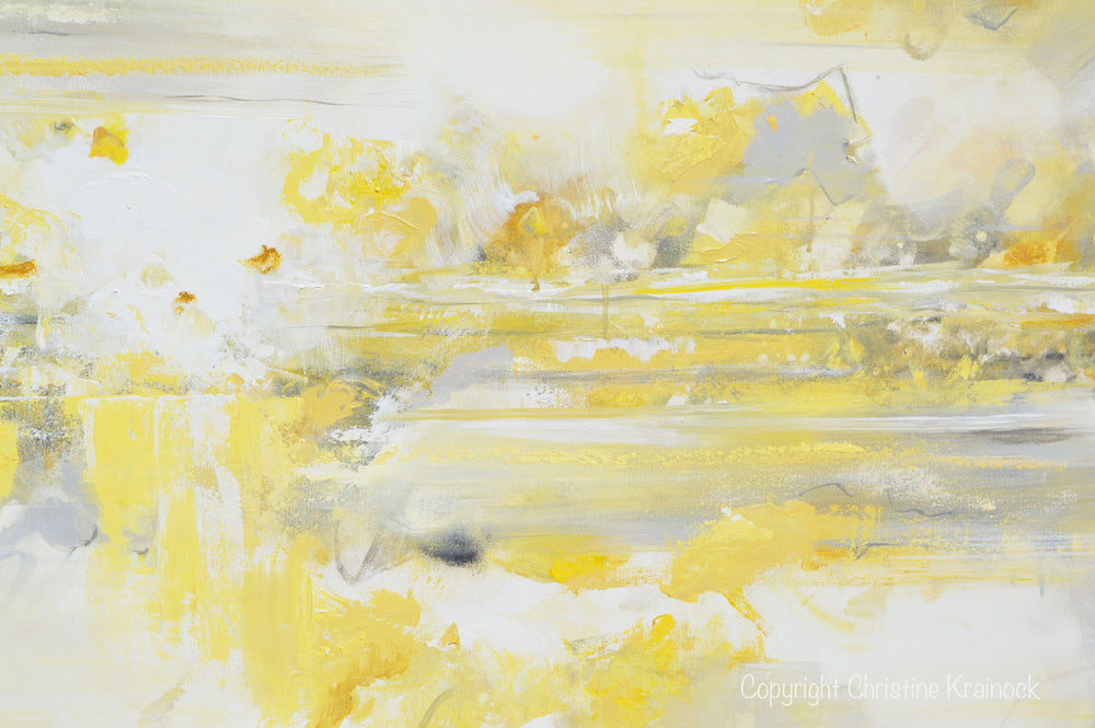 Original Art Yellow Grey Abstract Painting Modern Coastal