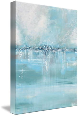 GICLEE PRINT Art Abstract Painting Blue Sea Foam Green Grey White Canvas Coastal Wall Decor