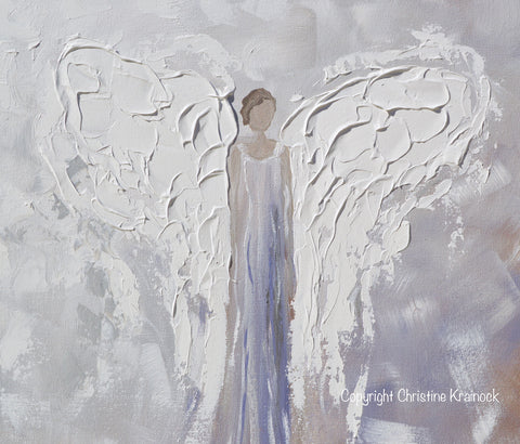 Lavender Wall Art giclee print angel painting abstract guardian angel lavender grey