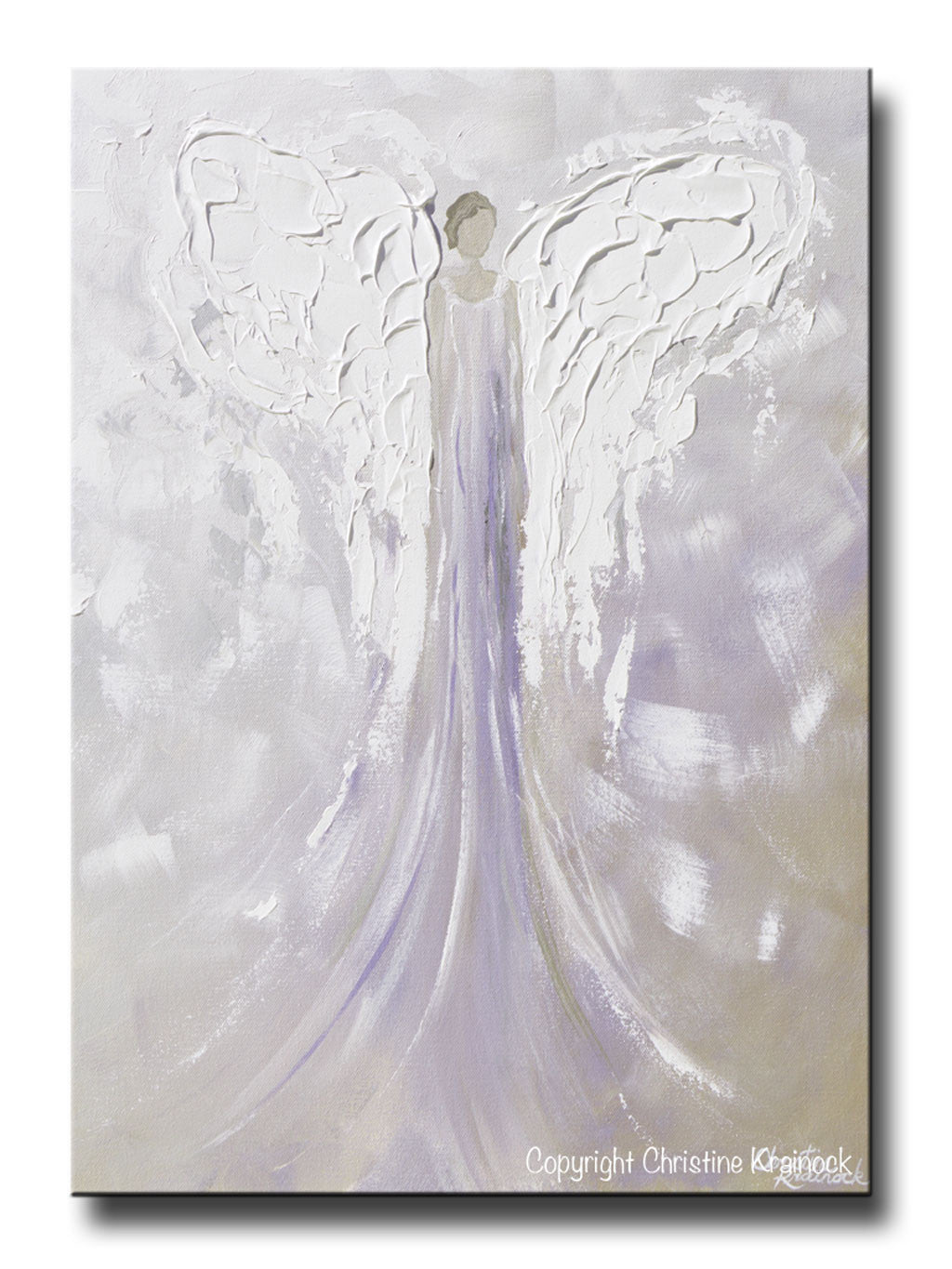 Favorite GICLEE PRINT Angel Painting Abstract Guardian Angel Lavender Grey  AR58