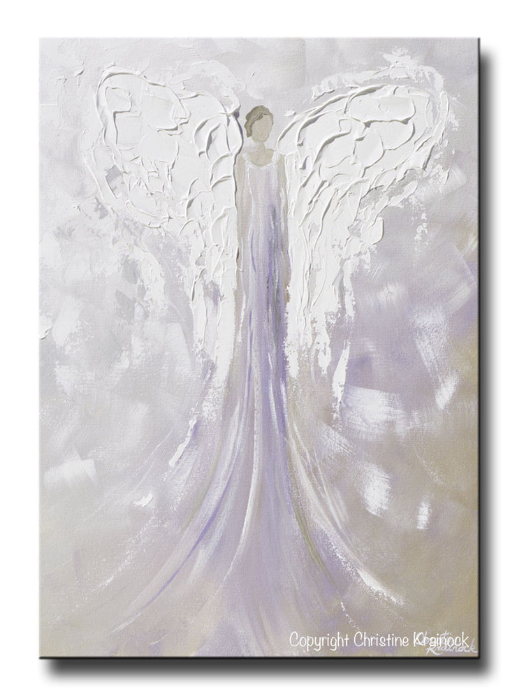 GICLEE PRINT Angel Painting Abstract Guardian Angel Lavender Grey Inspirational Home Wall Art