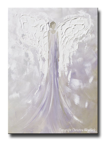 ORIGINAL Angel Painting Abstract Guardian Angel Textured Lavender Grey Inspirational Home Wall Art - Christine Krainock Art - Contemporary Art by Christine - 1