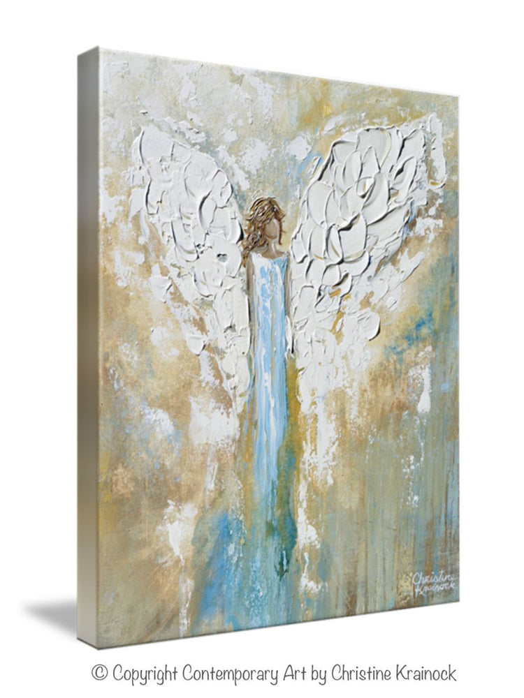 GICLEE PRINT Angel Painting Abstract Guardian Angel Wings Blue Gold White Modern Home Wall Art - Christine Krainock Art - Contemporary Art by Christine - 7