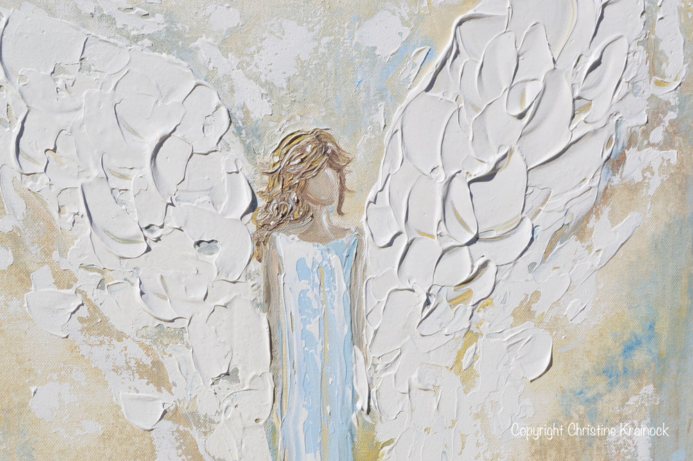 ORIGINAL Angel Painting Abstract Guardian Angel Wings Textured Blue Gold Modern Home Wall Art - Christine Krainock Art - Contemporary Art by Christine - 5