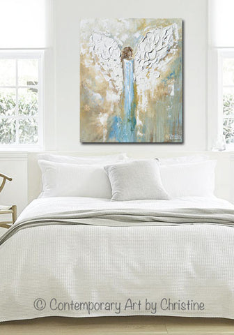 giclee print angel painting abstract guardian angel wings blue gold white modern home wall art - Home Wall Art