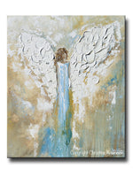 ORIGINAL Angel Painting Abstract Guardian Angel Wings Textured Blue Gold Modern Home Wall Art - Christine Krainock Art - Contemporary Art by Christine - 1
