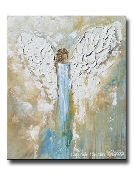 Original Angel Painting Abstract Guardian Angel