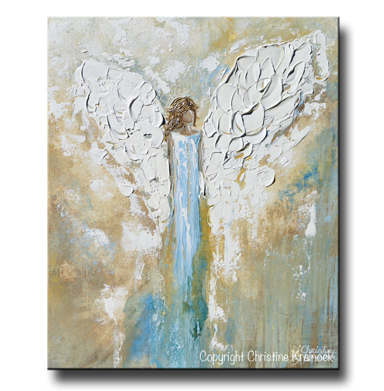 ORIGINAL Angel Painting Abstract Guardian Angel Wings Textured Blue Gold Modern Home Wall Art - Christine Krainock Art - Contemporary Art by Christine - 3