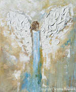 GICLEE PRINT Angel Painting Abstract Guardian Angel Wings Blue Gold White Modern Home Wall Art - Christine Krainock Art - Contemporary Art by Christine - 6