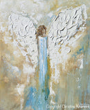 ORIGINAL Angel Painting Abstract Guardian Angel Wings Textured Blue Gold Modern Home Wall Art - Christine Krainock Art - Contemporary Art by Christine - 6