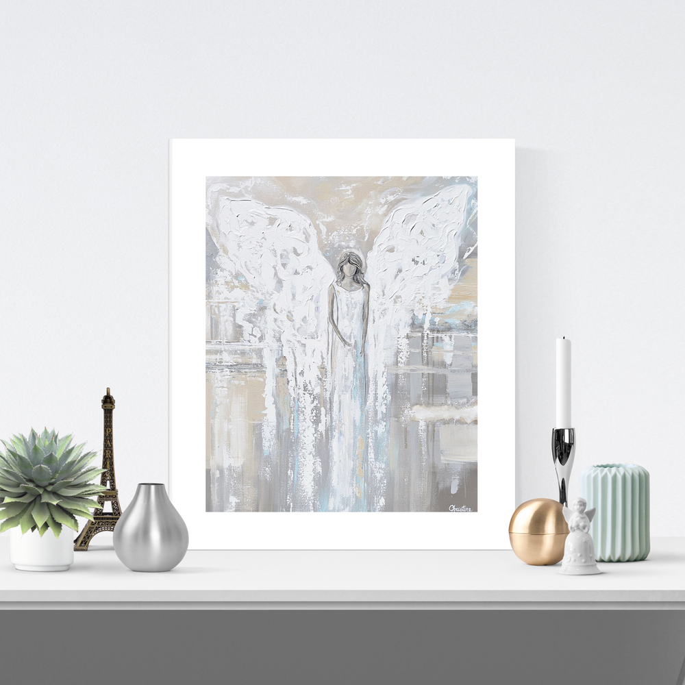 """Angel of Love"" LIMITED EDITION, MATTED & SIGNED by Artist Giclee Print Abstract Angel Painting 16x20"""