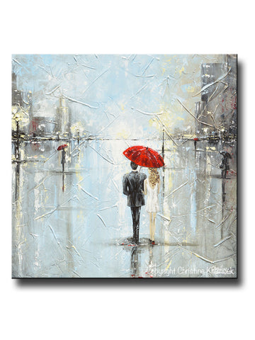 GICLEE PRINT Art Abstract Painting Couple Red Umbrella Girl White Grey Blue City Rain Modern Canvas Print - Christine Krainock Art - Contemporary Art by Christine - 1