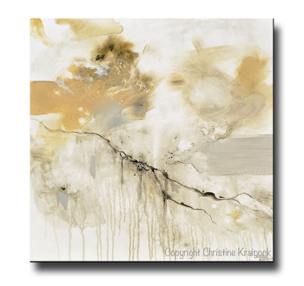 ORIGINAL Art Abstract Grey White Painting Coastal Modern Neutral Greige Taupe Gold Wall Art Decor - Christine Krainock Art - Contemporary Art by Christine - 3
