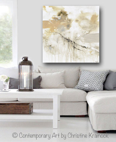 giclee print art white grey abstract painting modern neutral wall